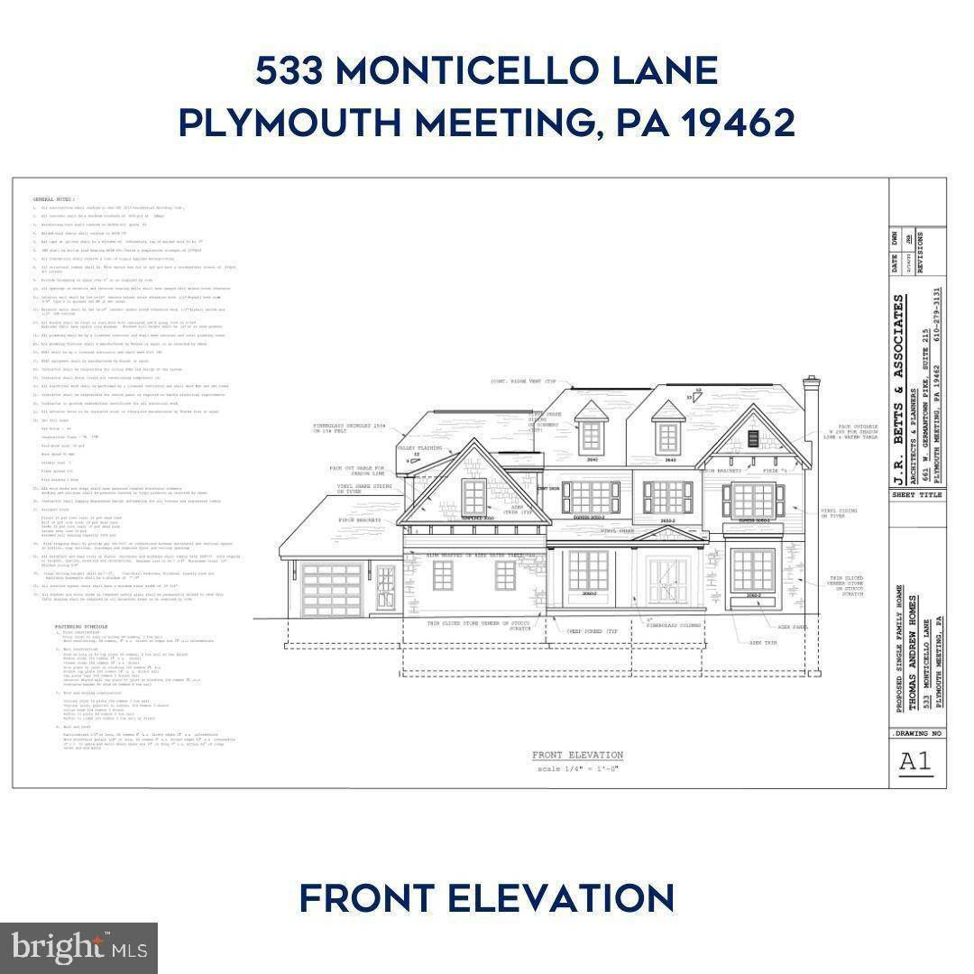 Detached House for Sale at 533 MONTICELLO Lane Plymouth Meeting, Pennsylvania 19462 United States