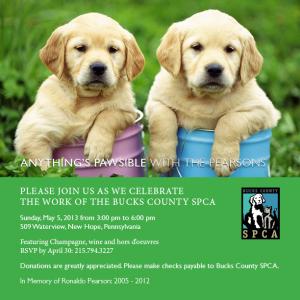 Bucks County SPCA Fundraiser invite