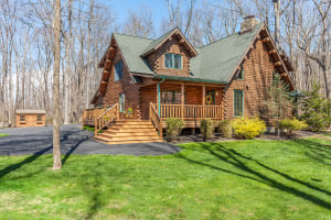 163 Marienstein Rd,Upper Black Eddy, PA~$539,000 ~ Custom- built log home on more than 2 acres, is the definition of cozy. The river rock 2-story fireplace is the center of attention. This home offers 3 bedrooms and 2 baths along with the first floor expansive master suite is a couples dream with its walk-in closet, customs shelving, and spa bath makes this home feel like a mountain retreat!